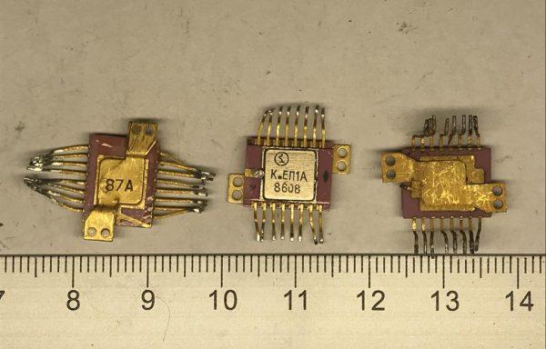 Микросхема 16 ног с ушами желтое дно б\у