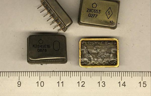 Микросхема метал-стекло 14 ног б\у